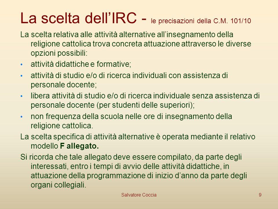 La scelta dellIRC - le precisazioni della C.M.