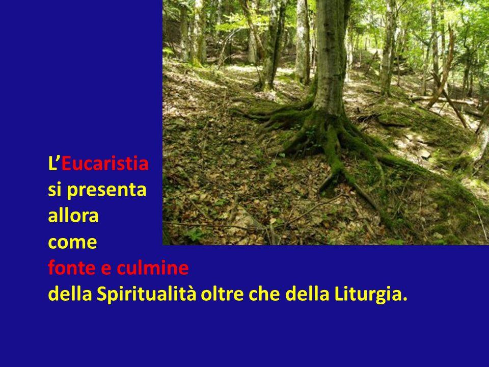 LEucaristia si presenta allora come fonte e culmine della Spiritualità oltre che della Liturgia.