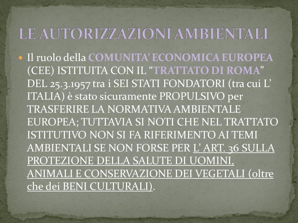 Il ruolo della COMUNITA ECONOMICA EUROPEA (CEE) ISTITUITA CON IL TRATTATO DI ROMA DEL 25.3.1957 tra i SEI STATI FONDATORI (tra cui L ITALIA) è stato sicuramente PROPULSIVO per TRASFERIRE LA NORMATIVA AMBIENTALE EUROPEA; TUTTAVIA SI NOTI CHE NEL TRATTATO ISTITUTIVO NON SI FA RIFERIMENTO AI TEMI AMBIENTALI SE NON FORSE PER L ART.
