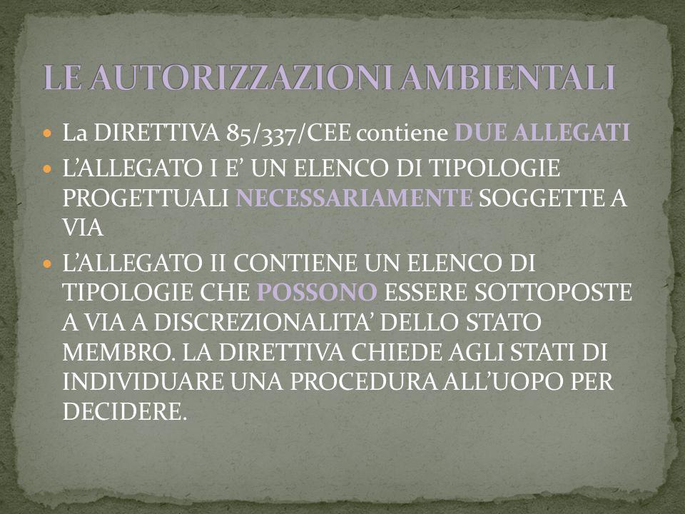La DIRETTIVA 85/337/CEE contiene DUE ALLEGATI LALLEGATO I E UN ELENCO DI TIPOLOGIE PROGETTUALI NECESSARIAMENTE SOGGETTE A VIA LALLEGATO II CONTIENE UN ELENCO DI TIPOLOGIE CHE POSSONO ESSERE SOTTOPOSTE A VIA A DISCREZIONALITA DELLO STATO MEMBRO.