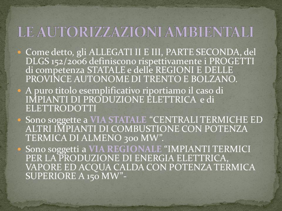 Come detto, gli ALLEGATI II E III, PARTE SECONDA, del DLGS 152/2006 definiscono rispettivamente i PROGETTI di competenza STATALE e delle REGIONI E DELLE PROVINCE AUTONOME DI TRENTO E BOLZANO.