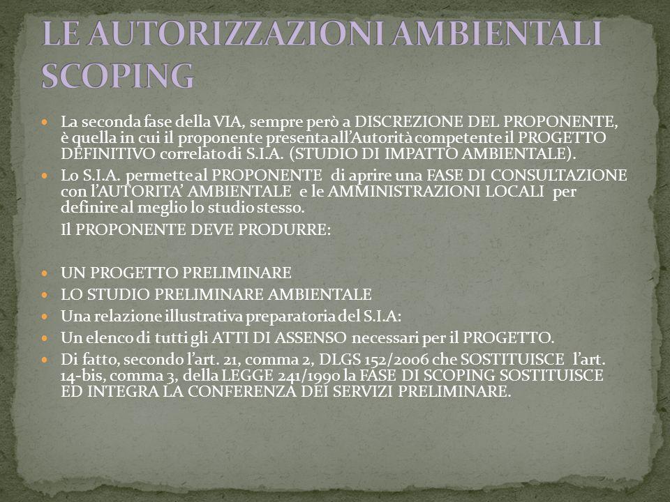 La seconda fase della VIA, sempre però a DISCREZIONE DEL PROPONENTE, è quella in cui il proponente presenta allAutorità competente il PROGETTO DEFINITIVO correlato di S.I.A.