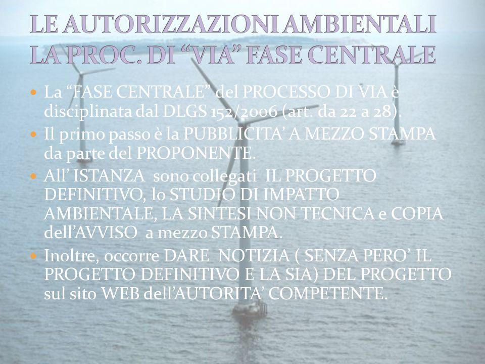 La FASE CENTRALE del PROCESSO DI VIA è disciplinata dal DLGS 152/2006 (art.