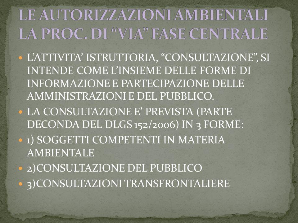 LATTIVITA ISTRUTTORIA, CONSULTAZIONE, SI INTENDE COME LINSIEME DELLE FORME DI INFORMAZIONE E PARTECIPAZIONE DELLE AMMINISTRAZIONI E DEL PUBBLICO.