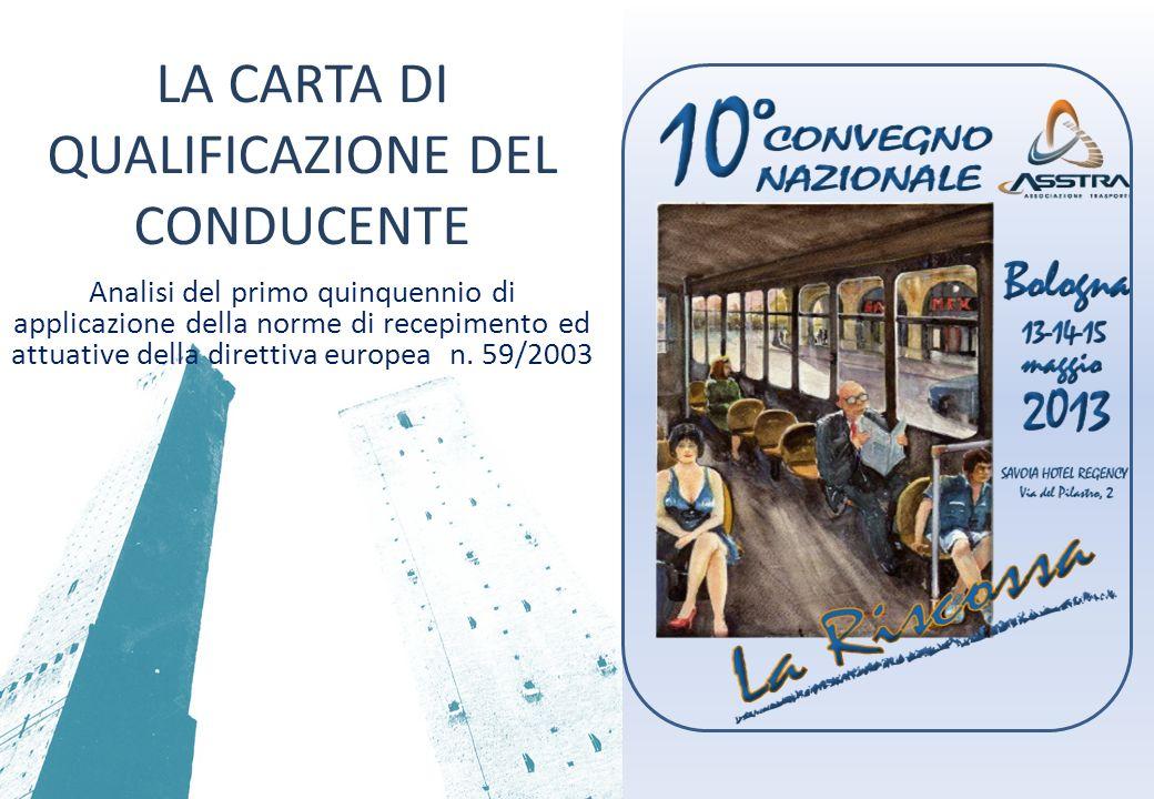 PREMESSA La direttiva comunitaria 59/2003 in materia di: qualificazione iniziale formazione periodica dei conducenti di veicoli stradali adibiti al trasporto viaggiatori/merci.