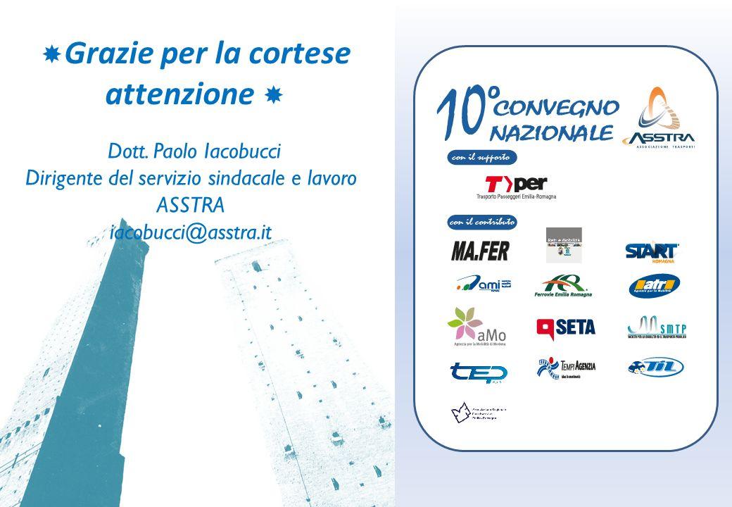 Grazie per la cortese attenzione Dott. Paolo Iacobucci Dirigente del servizio sindacale e lavoro ASSTRA iacobucci@asstra.it