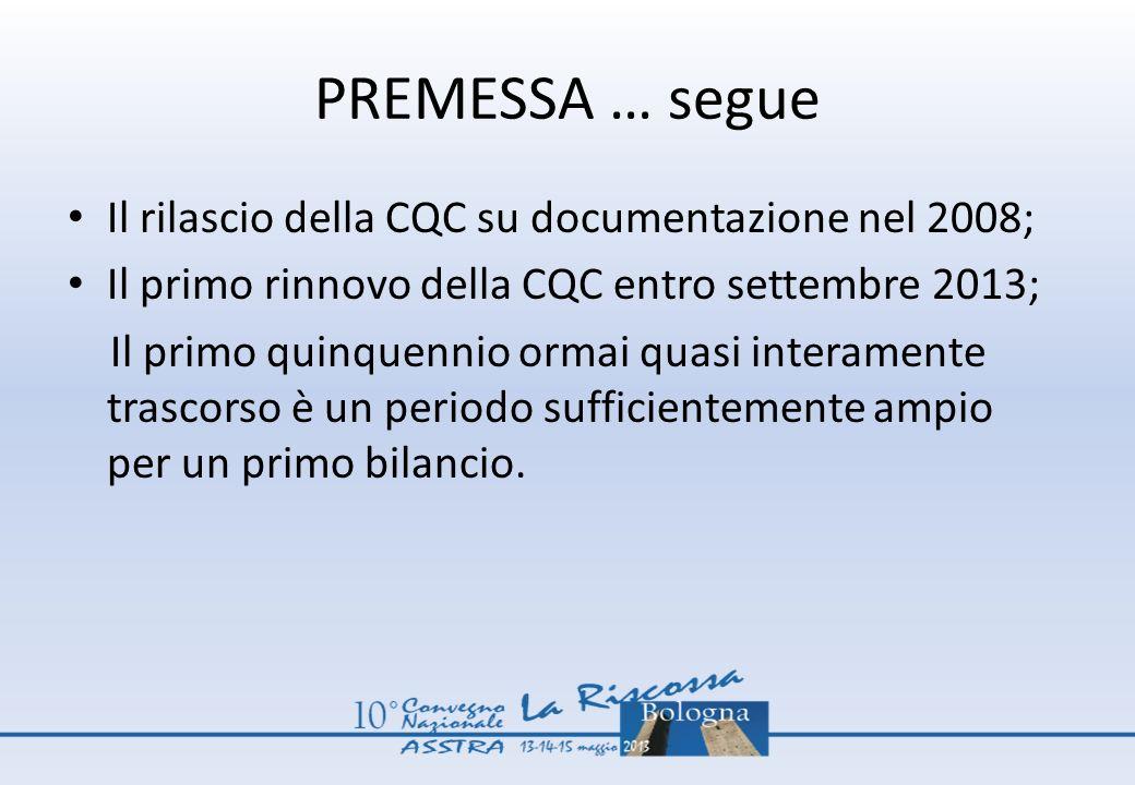 PREMESSA … segue Il rilascio della CQC su documentazione nel 2008; Il primo rinnovo della CQC entro settembre 2013; Il primo quinquennio ormai quasi i