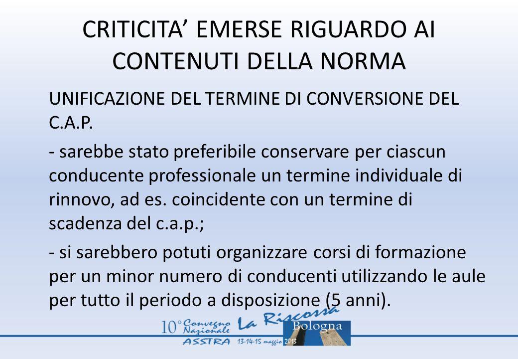CRITICITA EMERSE RIGUARDO AI CONTENUTI DELLA NORMA UNIFICAZIONE DEL TERMINE DI CONVERSIONE DEL C.A.P. - sarebbe stato preferibile conservare per ciasc