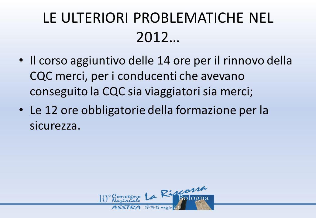 LE ULTERIORI PROBLEMATICHE NEL 2012… Il corso aggiuntivo delle 14 ore per il rinnovo della CQC merci, per i conducenti che avevano conseguito la CQC s