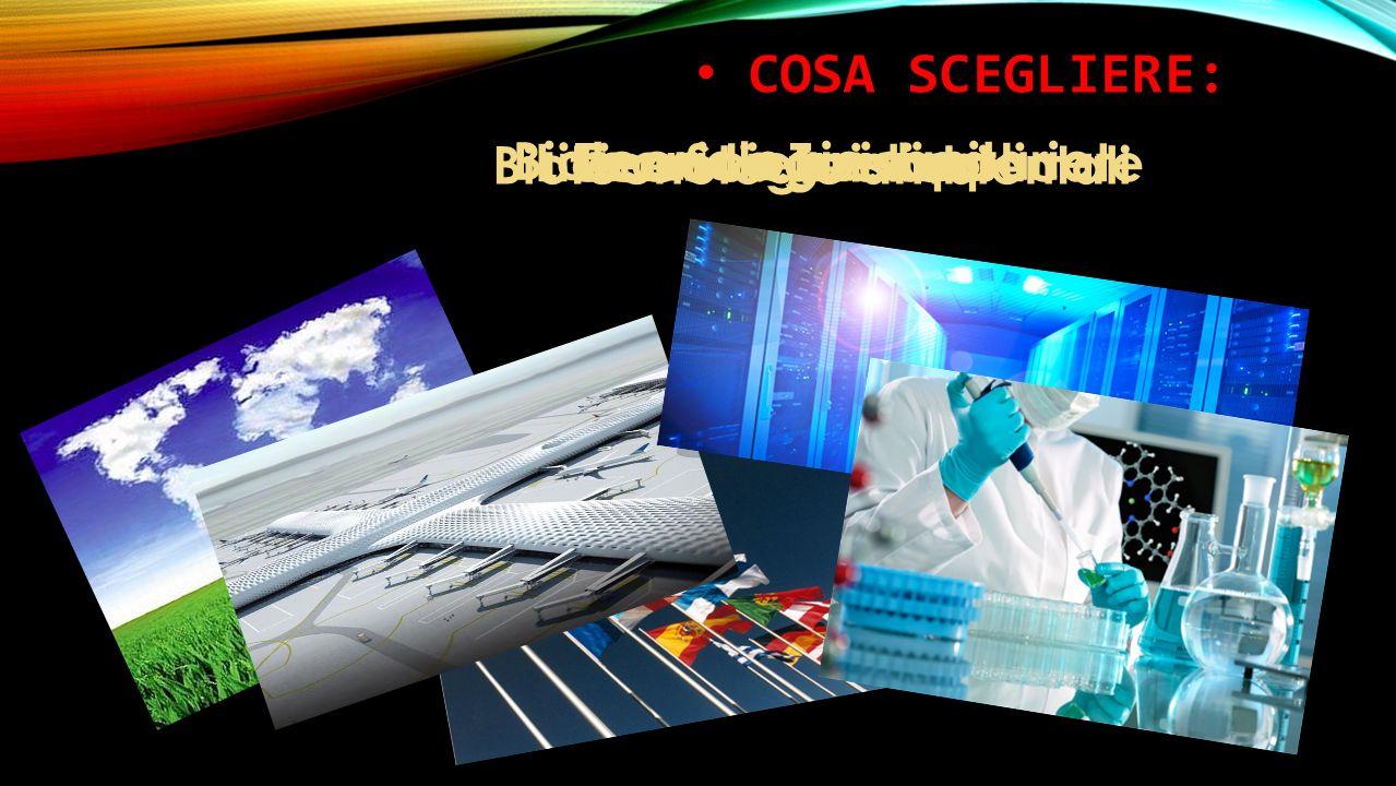 COSA SCEGLIERE: Liceo linguistico Biotecnologie ambientali Tecnico Turistico Liceo Scienze applicate Biotecnologie sanitarie