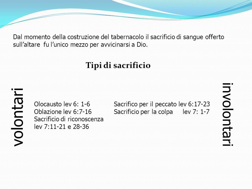 Dal momento della costruzione del tabernacolo il sacrificio di sangue offerto sullaltare fu lunico mezzo per avvicinarsi a Dio. Tipi di sacrificio vol