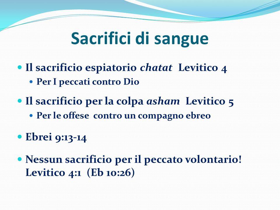 Sacrifici di sangue Il sacrificio espiatorio chatat Levitico 4 Per I peccati contro Dio Il sacrificio per la colpa asham Levitico 5 Per le offese cont