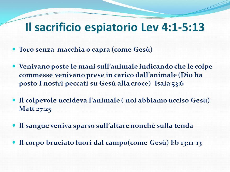 Il sacrificio espiatorio Lev 4:1-5:13 Toro senza macchia o capra (come Gesù) Venivano poste le mani sullanimale indicando che le colpe commesse veniva