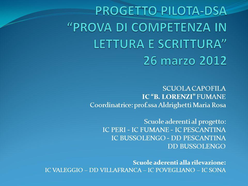 SCUOLA CAPOFILA IC B. LORENZI FUMANE Coordinatrice: prof.ssa Aldrighetti Maria Rosa Scuole aderenti al progetto: IC PERI - IC FUMANE - IC PESCANTINA I