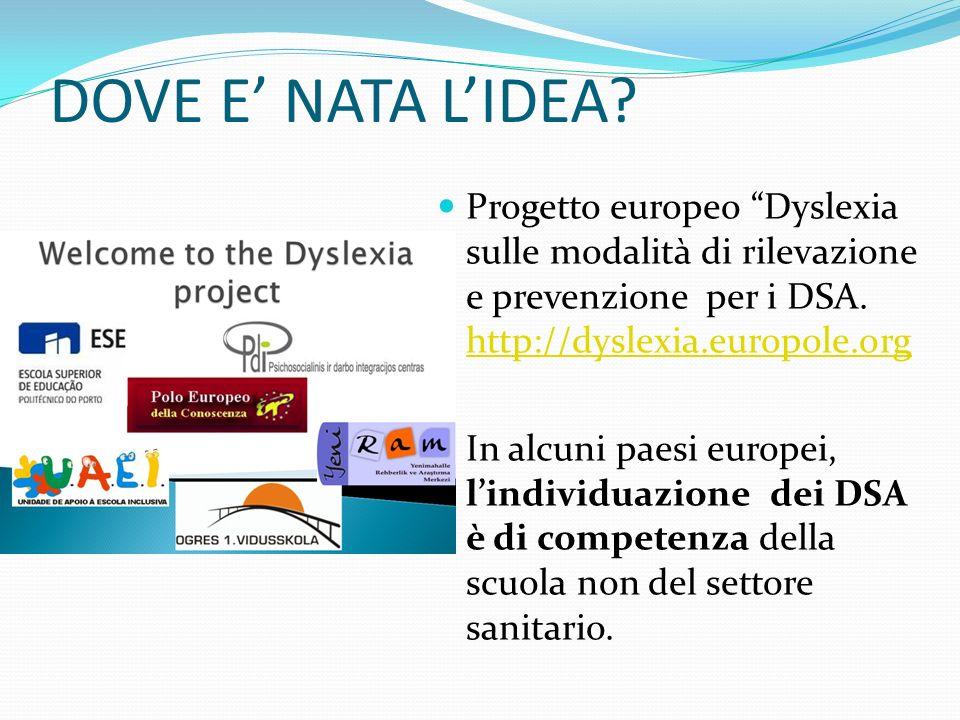 DOVE E NATA LIDEA? Progetto europeo Dyslexia sulle modalità di rilevazione e prevenzione per i DSA. http://dyslexia.europole.org http://dyslexia.europ