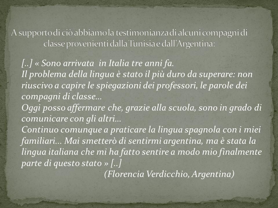 [..] « Sono arrivata in Italia tre anni fa. Il problema della lingua è stato il più duro da superare: non riuscivo a capire le spiegazioni dei profess