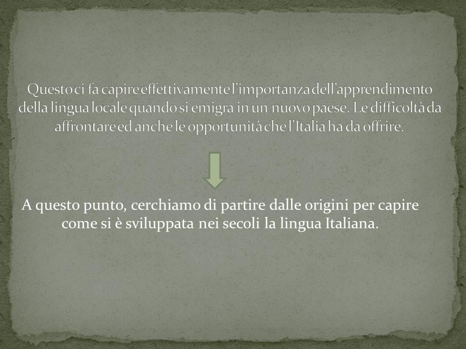 A questo punto, cerchiamo di partire dalle origini per capire come si è sviluppata nei secoli la lingua Italiana.