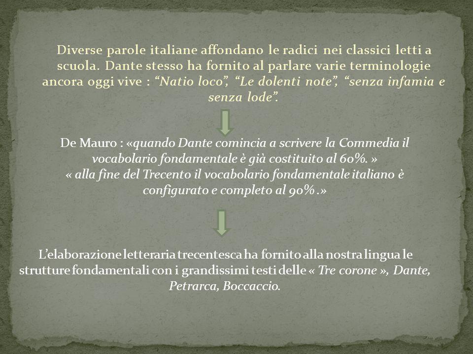 Diverse parole italiane affondano le radici nei classici letti a scuola. Dante stesso ha fornito al parlare varie terminologie ancora oggi vive : Nati