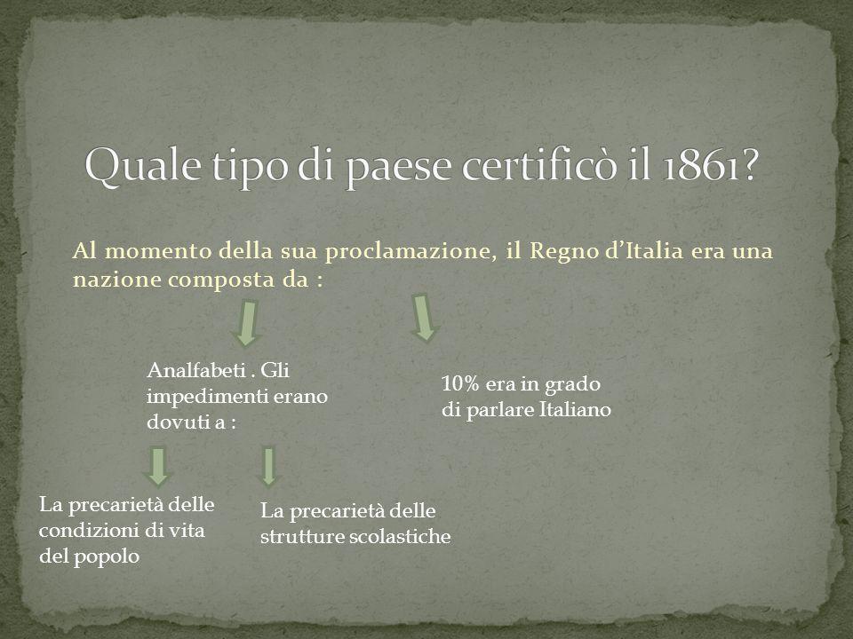 Al momento della sua proclamazione, il Regno dItalia era una nazione composta da : 10% era in grado di parlare Italiano Analfabeti.