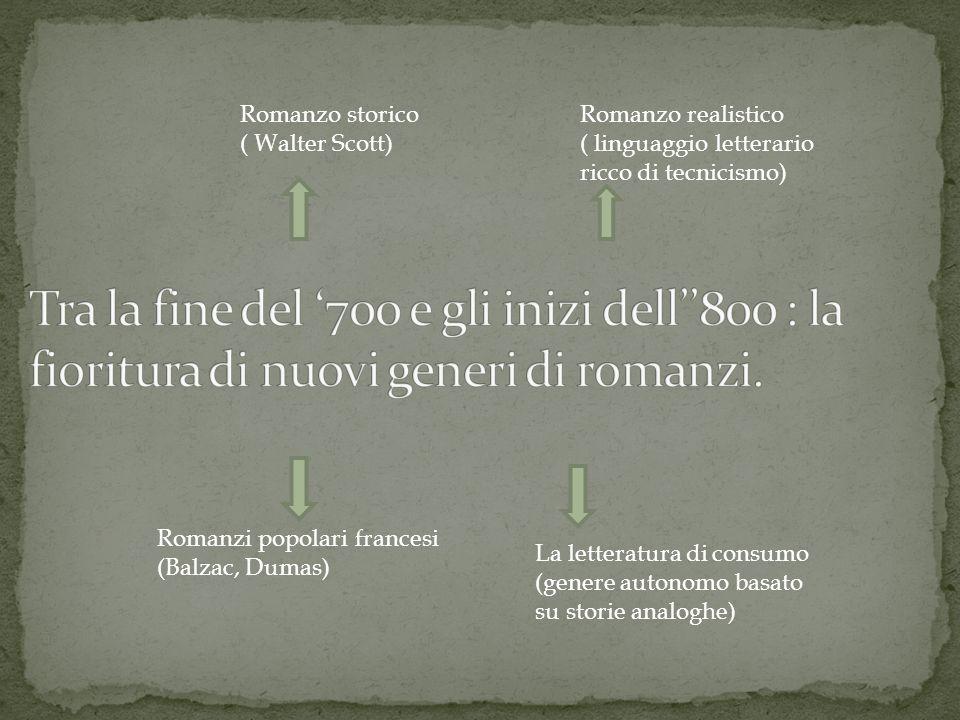 Romanzo storico ( Walter Scott) Romanzo realistico ( linguaggio letterario ricco di tecnicismo) Romanzi popolari francesi (Balzac, Dumas) La letteratura di consumo (genere autonomo basato su storie analoghe)