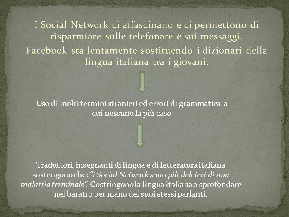 I Social Network ci affascinano e ci permettono di risparmiare sulle telefonate e sui messaggi. Facebook sta lentamente sostituendo i dizionari della
