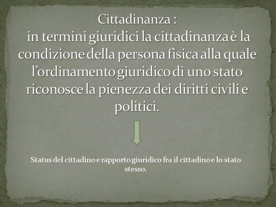 Status del cittadino e rapporto giuridico fra il cittadino e lo stato stesso.