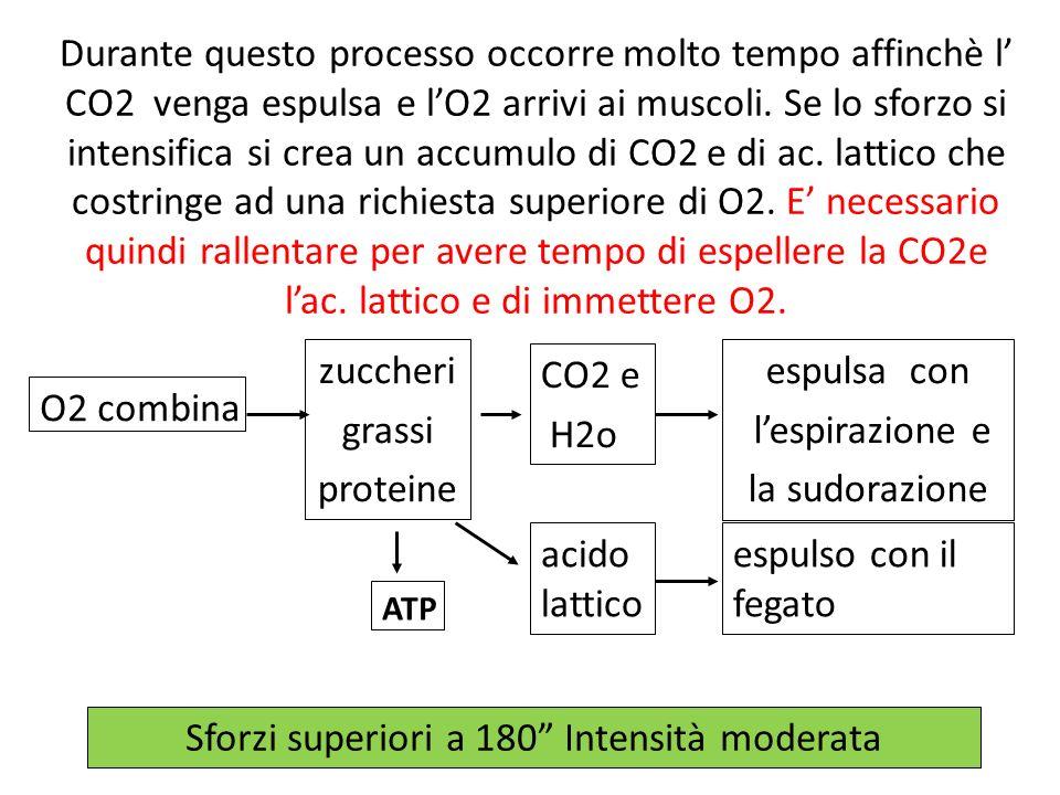 Durante questo processo occorre molto tempo affinchè l CO2 venga espulsa e lO2 arrivi ai muscoli. Se lo sforzo si intensifica si crea un accumulo di C