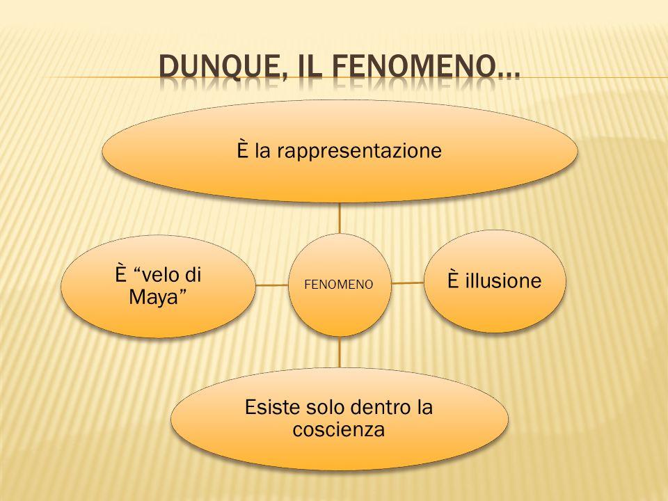 FENOMENO È la rappresentazioneÈ illusione Esiste solo dentro la coscienza È velo di Maya