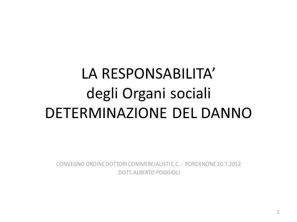 Responsabilità organi sociali- Determinazione del danno NORME GENERALI in materia di danno risarcibile (art.