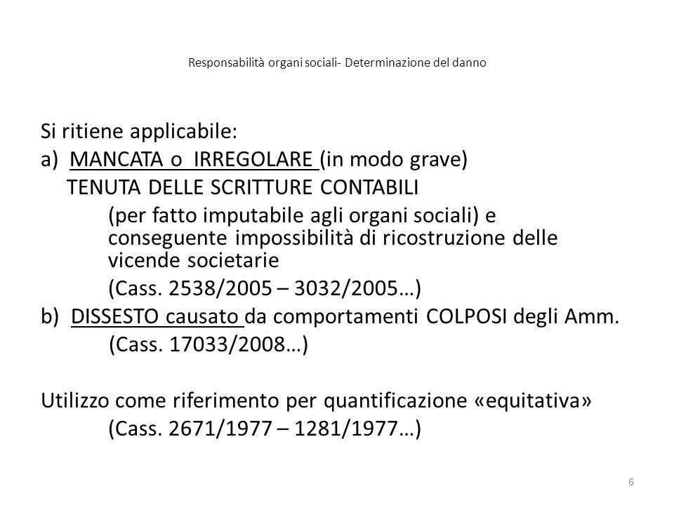 Responsabilità organi sociali- Determinazione del danno Esempio A)Bilancio (INIZIALE) «rettificato» allepoca della causa scioglimento del 31.12.2009: ( valori (post rettif.