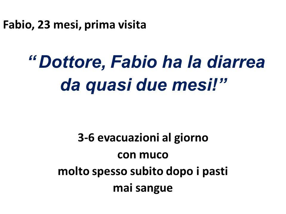 Fabio, 23 mesi, prima visita Dottore, Fabio ha la diarrea da quasi due mesi.