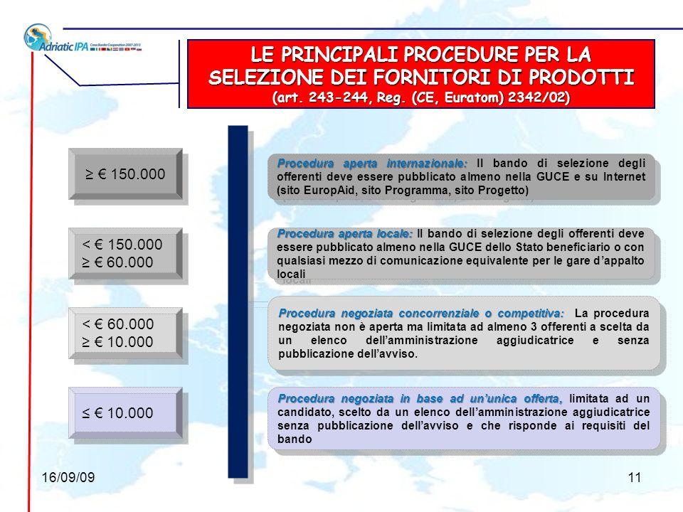 LE PRINCIPALI PROCEDURE PER LAFFIDAMENTO DEI LAVORI (art.