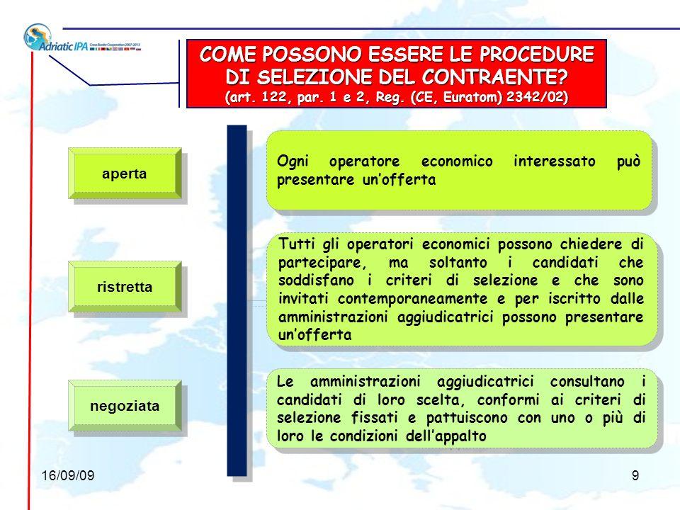 LE PRINCIPALI PROCEDURE PER LOTTENIMENTO DI SERVIZI (art.