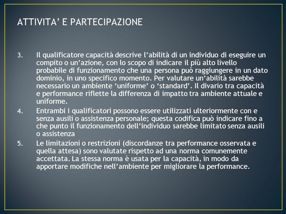 3. Il qualificatore capacità descrive labilità di un individuo di eseguire un compito o unazione, con lo scopo di indicare il più alto livello probabi