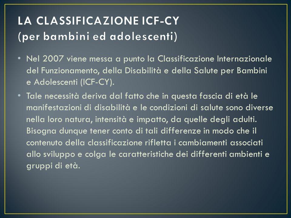 Nel 2007 viene messa a punto la Classificazione Internazionale del Funzionamento, della Disabilità e della Salute per Bambini e Adolescenti (ICF-CY).