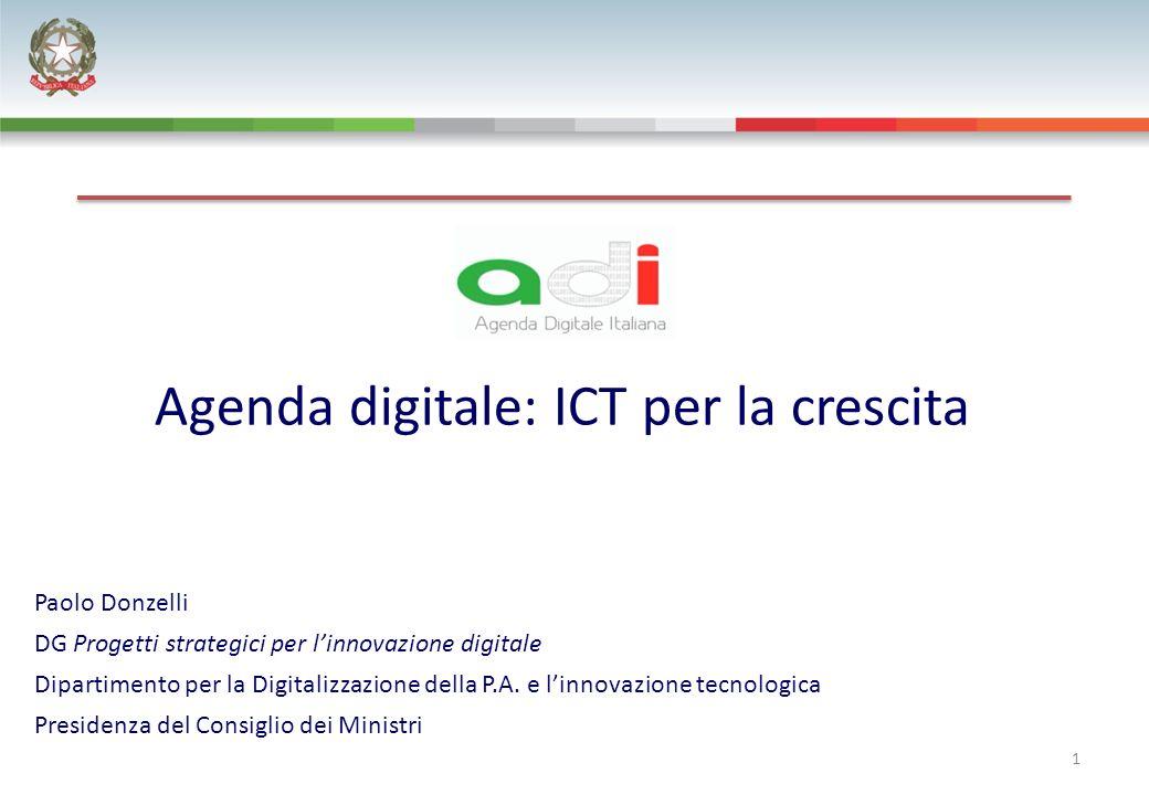 Agenda digitale: ICT per la crescita 1 Paolo Donzelli DG Progetti strategici per linnovazione digitale Dipartimento per la Digitalizzazione della P.A.