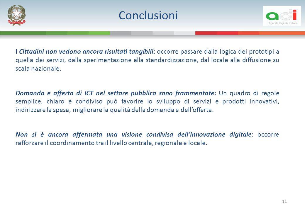 Conclusioni 11 I Cittadini non vedono ancora risultati tangibili: occorre passare dalla logica dei prototipi a quella dei servizi, dalla sperimentazione alla standardizzazione, dal locale alla diffusione su scala nazionale.