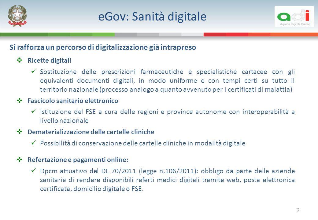 6 Ricette digitali Sostituzione delle prescrizioni farmaceutiche e specialistiche cartacee con gli equivalenti documenti digitali, in modo uniforme e