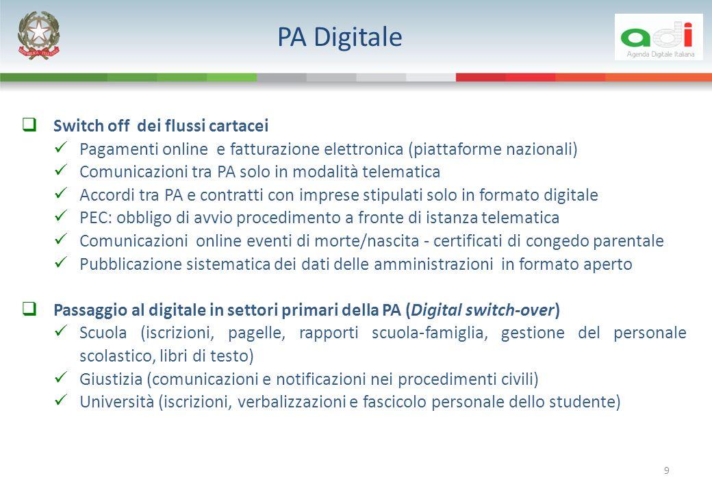 PA Digitale 9 Switch off dei flussi cartacei Pagamenti online e fatturazione elettronica (piattaforme nazionali) Comunicazioni tra PA solo in modalità