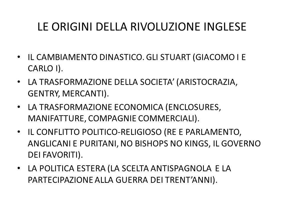 LE ORIGINI DELLA RIVOLUZIONE INGLESE IL CAMBIAMENTO DINASTICO.
