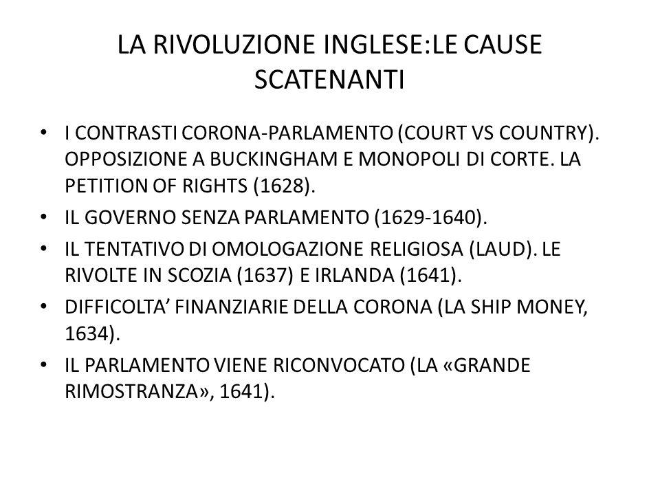 LA RIVOLUZIONE INGLESE:LE CAUSE SCATENANTI I CONTRASTI CORONA-PARLAMENTO (COURT VS COUNTRY).