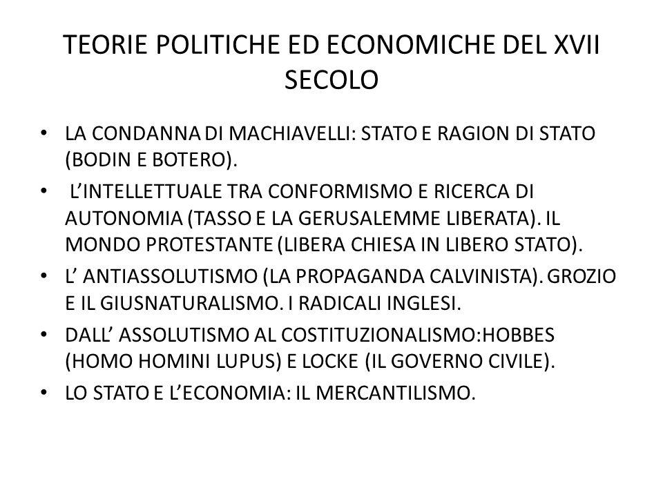 TEORIE POLITICHE ED ECONOMICHE DEL XVII SECOLO LA CONDANNA DI MACHIAVELLI: STATO E RAGION DI STATO (BODIN E BOTERO).