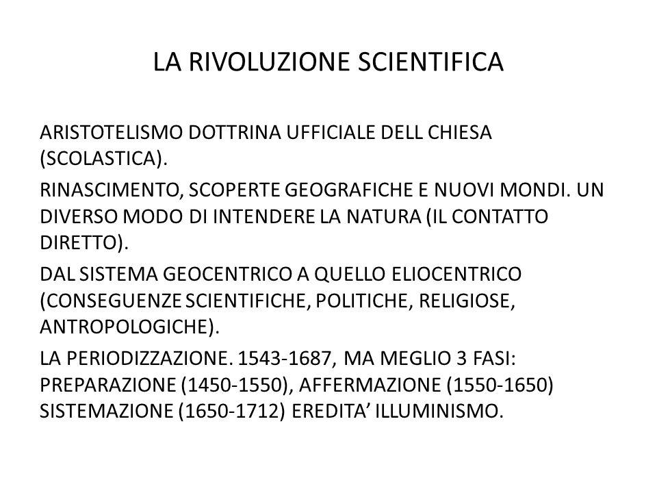 LA RIVOLUZIONE SCIENTIFICA ARISTOTELISMO DOTTRINA UFFICIALE DELL CHIESA (SCOLASTICA).