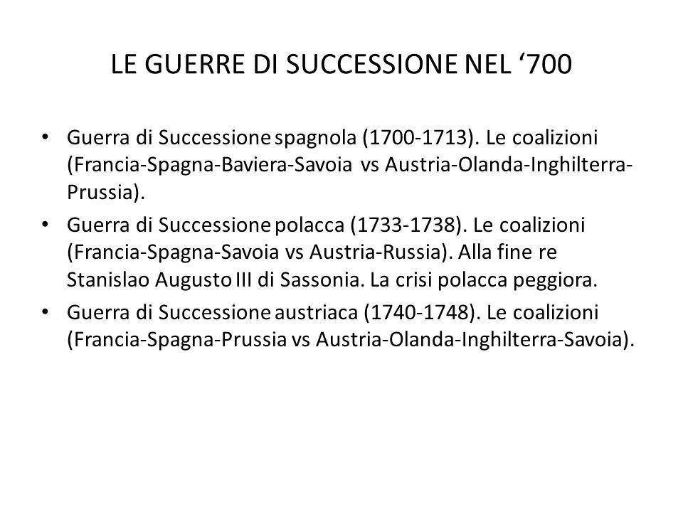 LE GUERRE DI SUCCESSIONE NEL 700 Guerra di Successione spagnola (1700-1713).