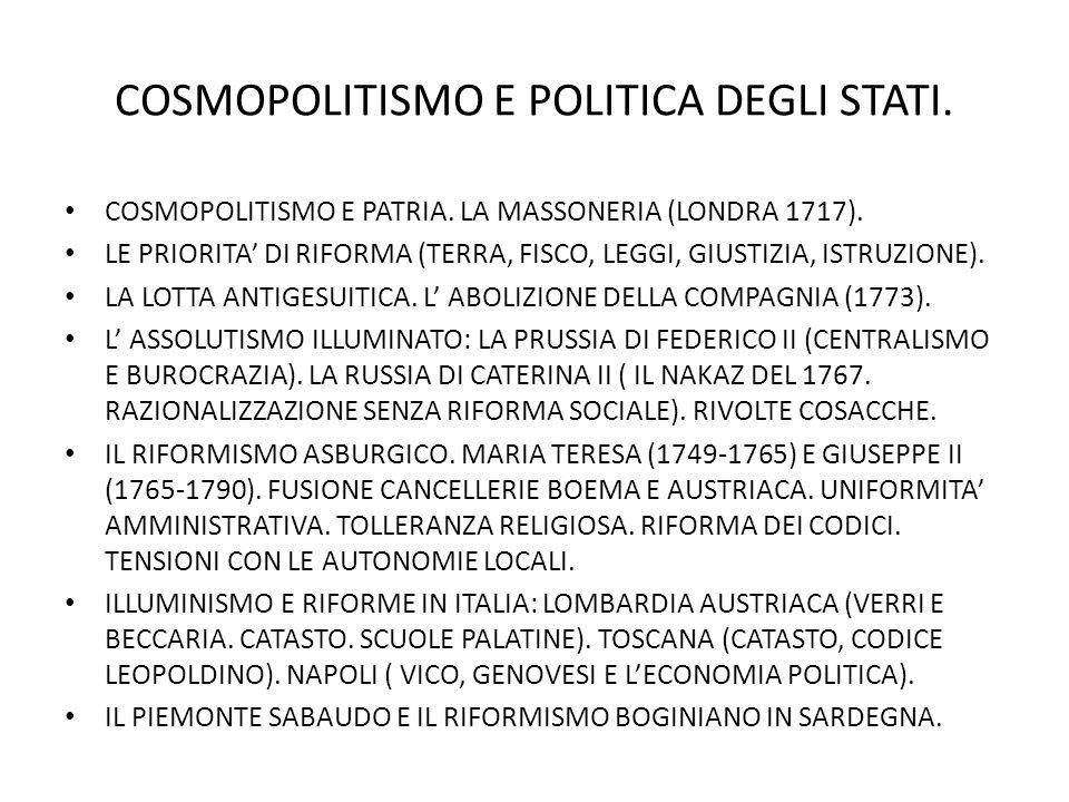 COSMOPOLITISMO E POLITICA DEGLI STATI.COSMOPOLITISMO E PATRIA.