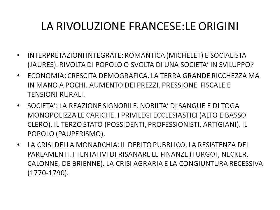 LA RIVOLUZIONE FRANCESE:LE ORIGINI INTERPRETAZIONI INTEGRATE: ROMANTICA (MICHELET) E SOCIALISTA (JAURES).