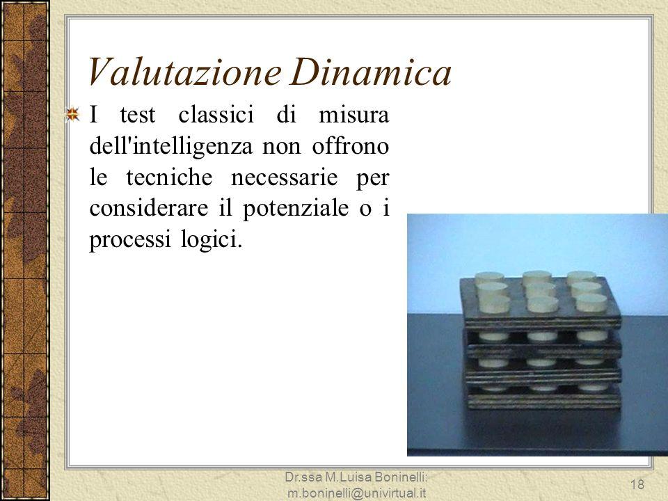 Valutazione Dinamica I test classici di misura dell'intelligenza non offrono le tecniche necessarie per considerare il potenziale o i processi logici.