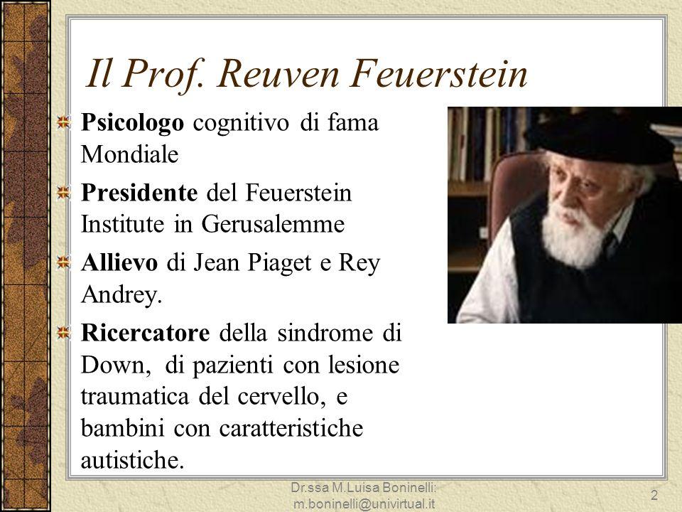 Il Prof. Reuven Feuerstein Psicologo cognitivo di fama Mondiale Presidente del Feuerstein Institute in Gerusalemme Allievo di Jean Piaget e Rey Andrey