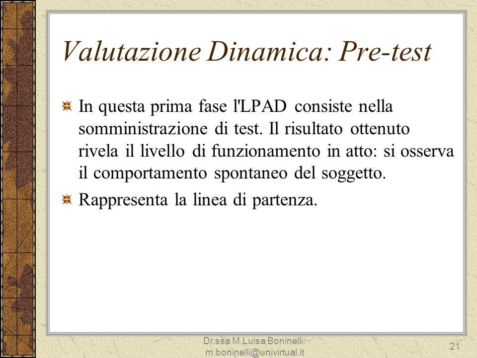 Valutazione Dinamica: Pre-test In questa prima fase l'LPAD consiste nella somministrazione di test. Il risultato ottenuto rivela il livello di funzion