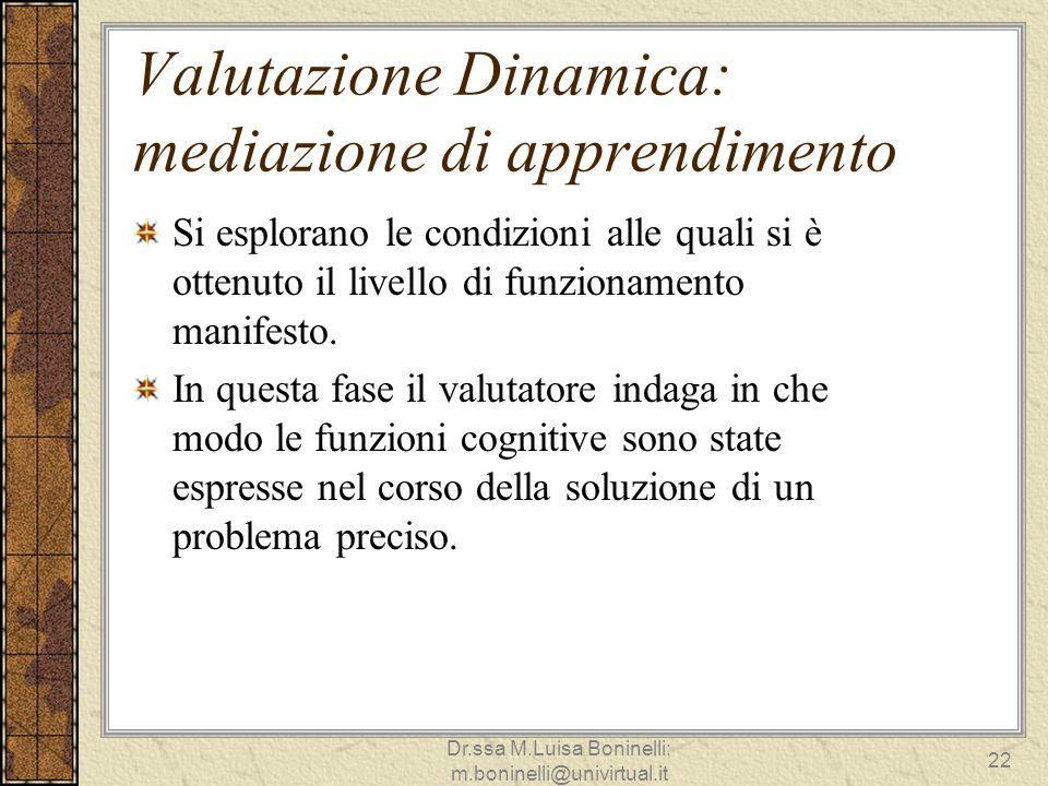 Valutazione Dinamica: mediazione di apprendimento Si esplorano le condizioni alle quali si è ottenuto il livello di funzionamento manifesto. In questa